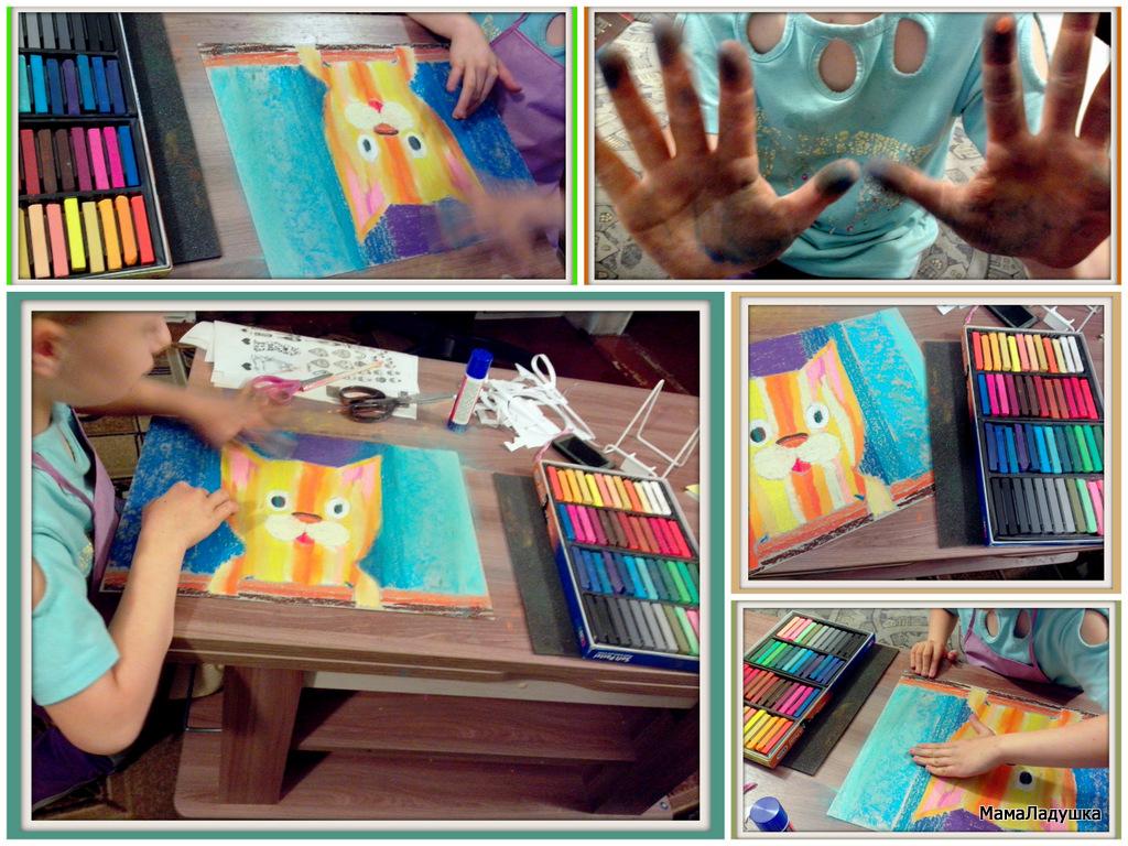 Котик - сухая пастель