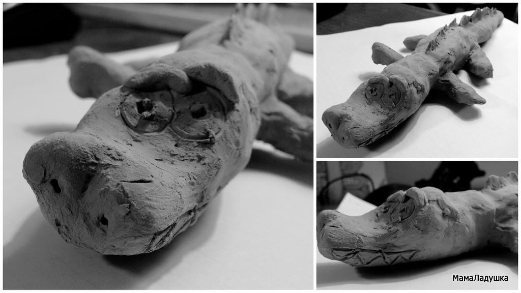 Крокодил из глины