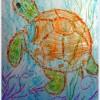 Рисуем восковыми мелками — морская черепаха