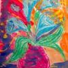 Рисуем восковыми мелками — букет цветов