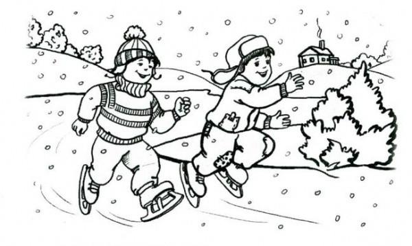 Раскраски зимние забавы детей