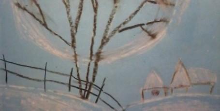 Рисуем восковыми мелками — Зимнее дерево