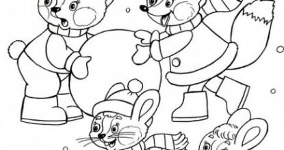 Раскрашки — Зимние забавы