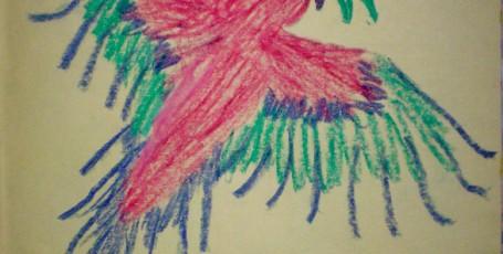 Рисуем восковыми мелками — Пестрый попугай