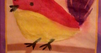 Рисуем  акварелью — Веселая птичка