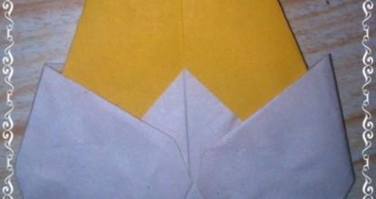 Пасхальное оригами — курица и цыпленок