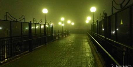 Вечерний Омск — туман над городом